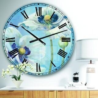 Designart 'White Flower on Blue I' Farmhouse Large Wall CLock