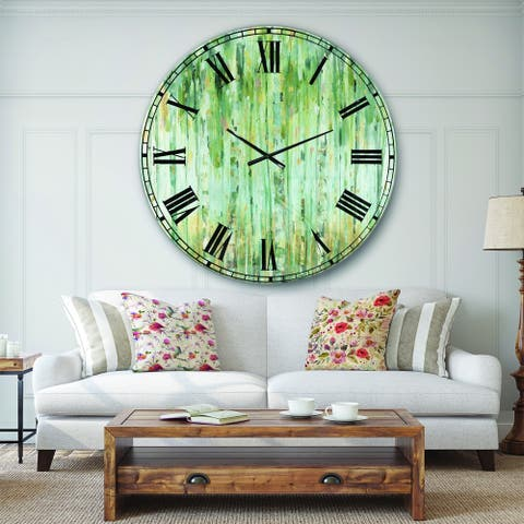 Designart 'The birch Forest II' Traditional Large Wall CLock