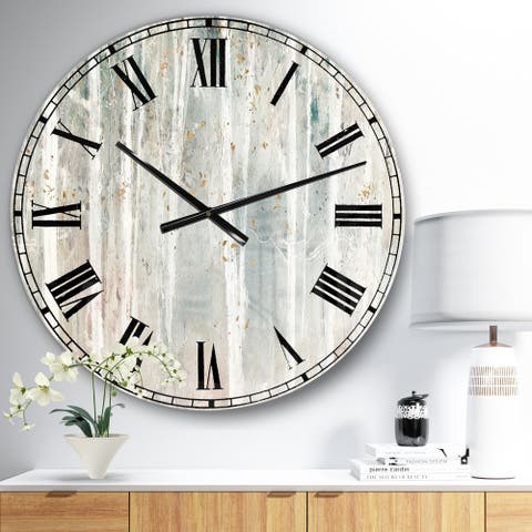 The Gray Barn Jartop 'A Woodland Walk into the Forest III' Farmhouse Oversized Metal Clock