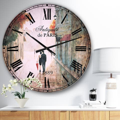 Designart 'Paris Romance Couples II' Romantic French Country Large Wall CLock