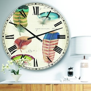 Designart 'Feathers Cottage Family II' Cabin & Lodge Large Wall CLock