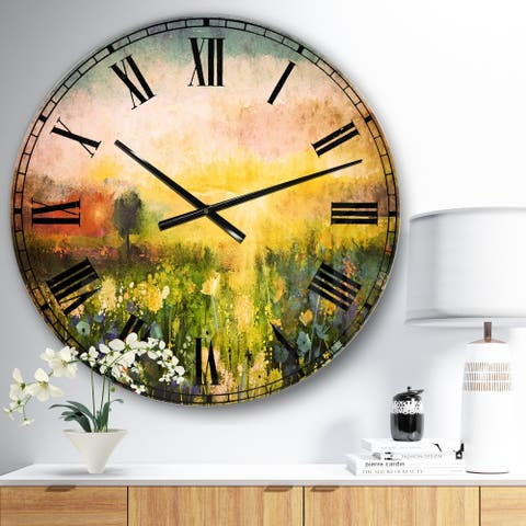 Designart 'Sunset Meadow Landscape' Contemporary Large Wall CLock