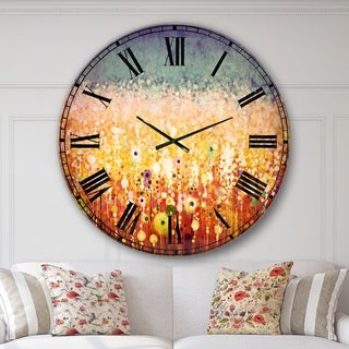 Designart 'Abstract Flower Field Watercolor Painting' Floral Large Wall CLock