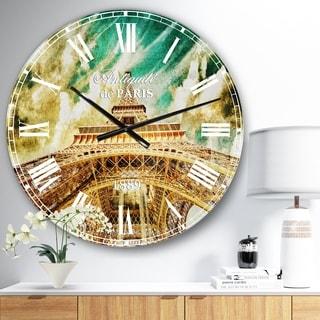 Designart 'Paris Eiffel TowerUnder Blue Sky' Photography Wall CLock