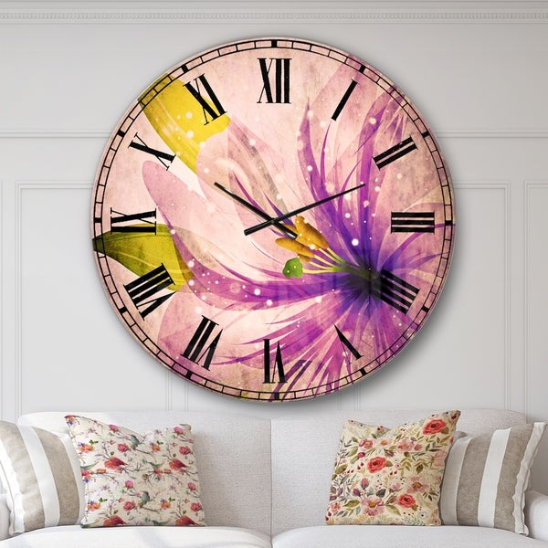 Designart 'Glowing Lily Flower' Floral Large Wall CLock