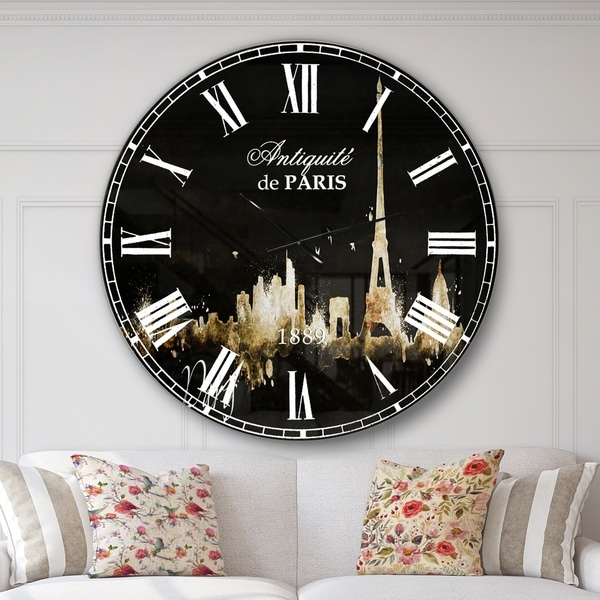 Designart 'Paris Dark Silhouette' Cityscape Large Wall CLock