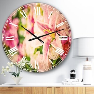Designart 'Beautiful Lily Flowers in Bouquet' Floral Large Wall CLock