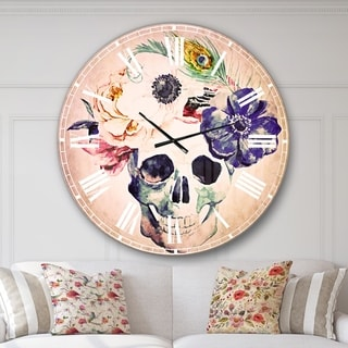Designart 'Anemones and Scull' Floral Large Wall CLock