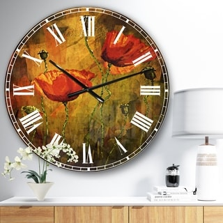 Designart 'Watercolor Poppy Flowers' Floral Large Wall CLock
