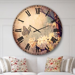 Designart 'Vintage Butterfly and Cherry Tree' Floral Large Wall CLock