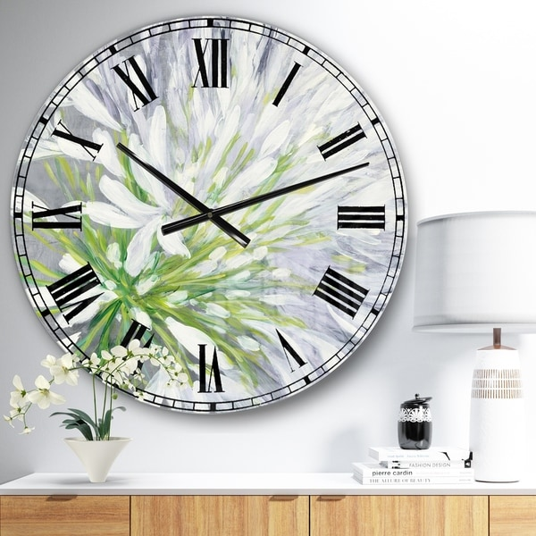 Designart 'Flower Cleome Splash II' Traditional Floral Oversized Wall CLock