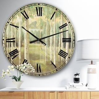 Designart 'Aspens Neutral Forest' Traditional Large Wall CLock