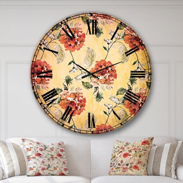 Designart 'Red Rose in Yellow background' Floral Wall CLock