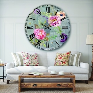 Designart 'Peonies and Paisley' Cabin & Lodge Large Wall CLock