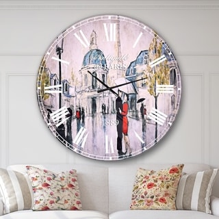 Designart 'Love in Paris I' Romantic French Country Large Wall CLock