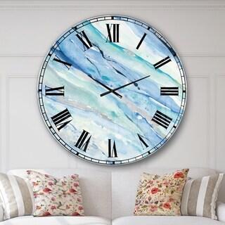 Designart 'Blue Silver Spring I' Modern Lake House Oversized Metal Clock