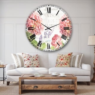 Designart 'Maison Des Fleurs II' Farmhouse Large Wall CLock