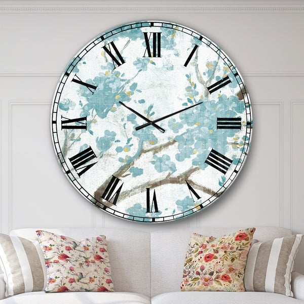 Designart 'Teal Cherry Blossoms I' Traditional Floral Large Wall CLock