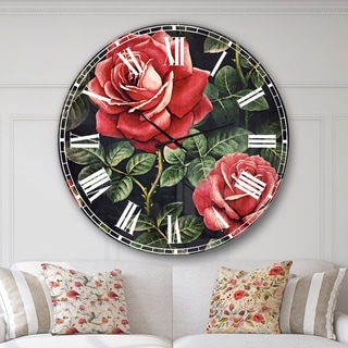 Designart 'Rose Illustration Watercolor' Floral Oversized Wall CLock