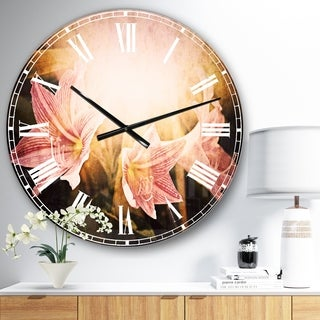 Designart 'Large Pink Flowers with Sunlight' Flower Large Wall CLock
