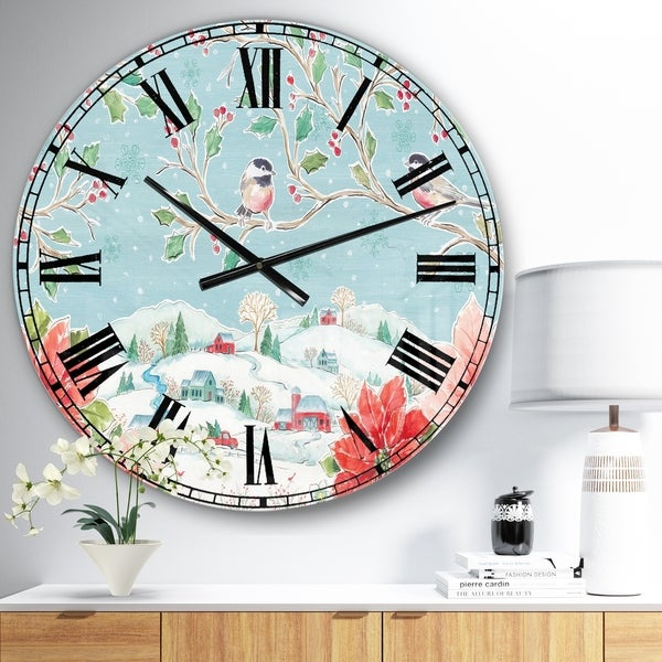 Designart 'Country Flower snowflakes II' Farmhouse Wall CLock