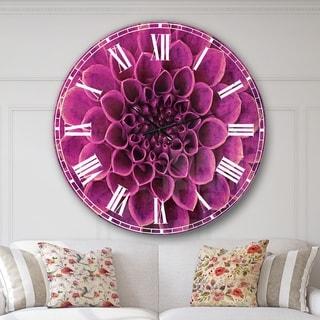Designart 'Light Purple Abstract Flower Petals' Floral Large Wall CLock