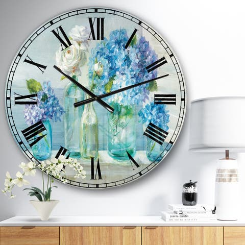 Designart 'Coastl Flowers Bouquets' Nautical & Coastal Wall CLock