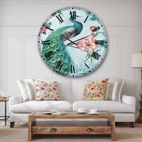 Designart 'Peacock ' Floral and botanical Large Wall CLock