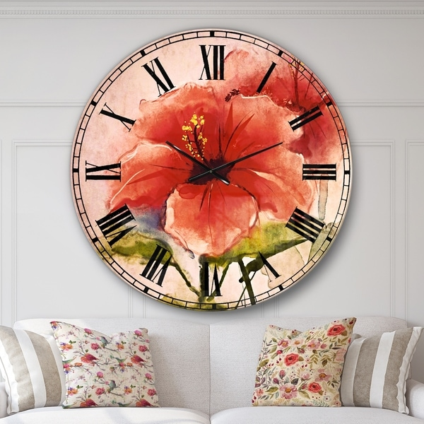 Designart 'Watercolor Painting Red Hibiscus Flower' Floral Large Wall CLock