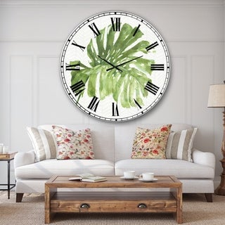Designart 'Mixed Botanical Green Leaves V' Cottage Large Wall CLock