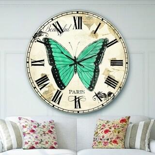 Designart 'Blue Farmhouse Butterfly' Farmhouse Large Wall CLock