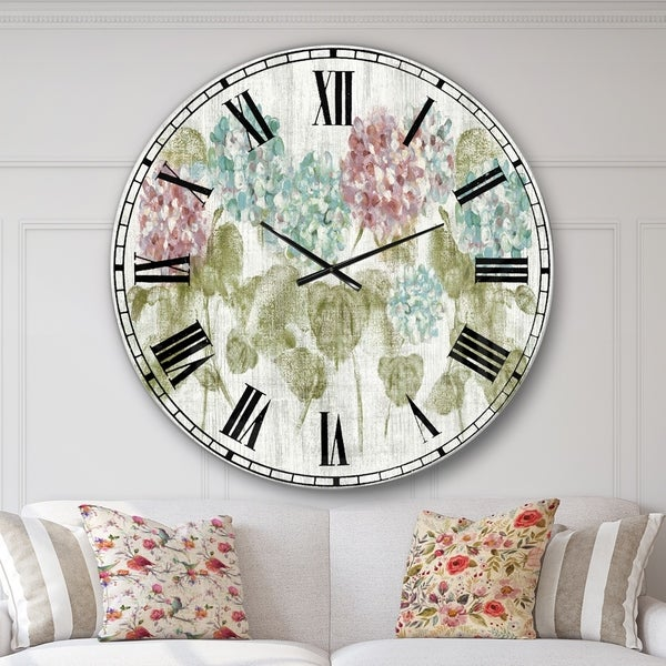Designart 'Red and Blue Vibrant Hydrangea Flowers' Cabin & Lodge Oversized Wall CLock