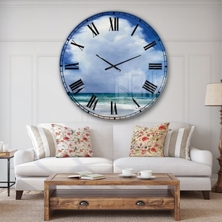 Porch & Den Beach Clouds II' Coastal Landscape Oversized Metal Clock