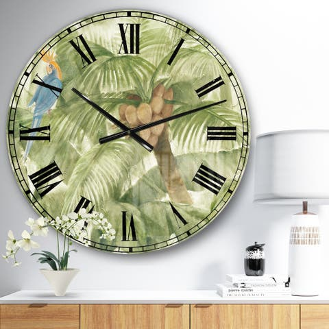 Designart 'Tropical Canopy I Green' Traditional Large Wall CLock