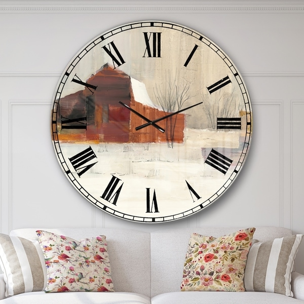 Designart 'Winter in the Barns' Farmhouse Large Wall CLock
