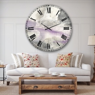 Designart 'Watercolor Minimal Purple Tones I' Modern Farmhouse Large Wall CLock
