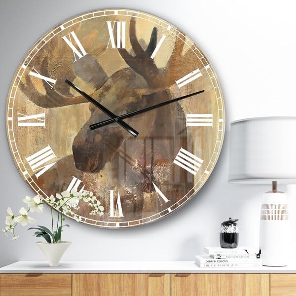 Designart 'Into the Wild Gold Moose ' Farmhouse Large Wall CLock