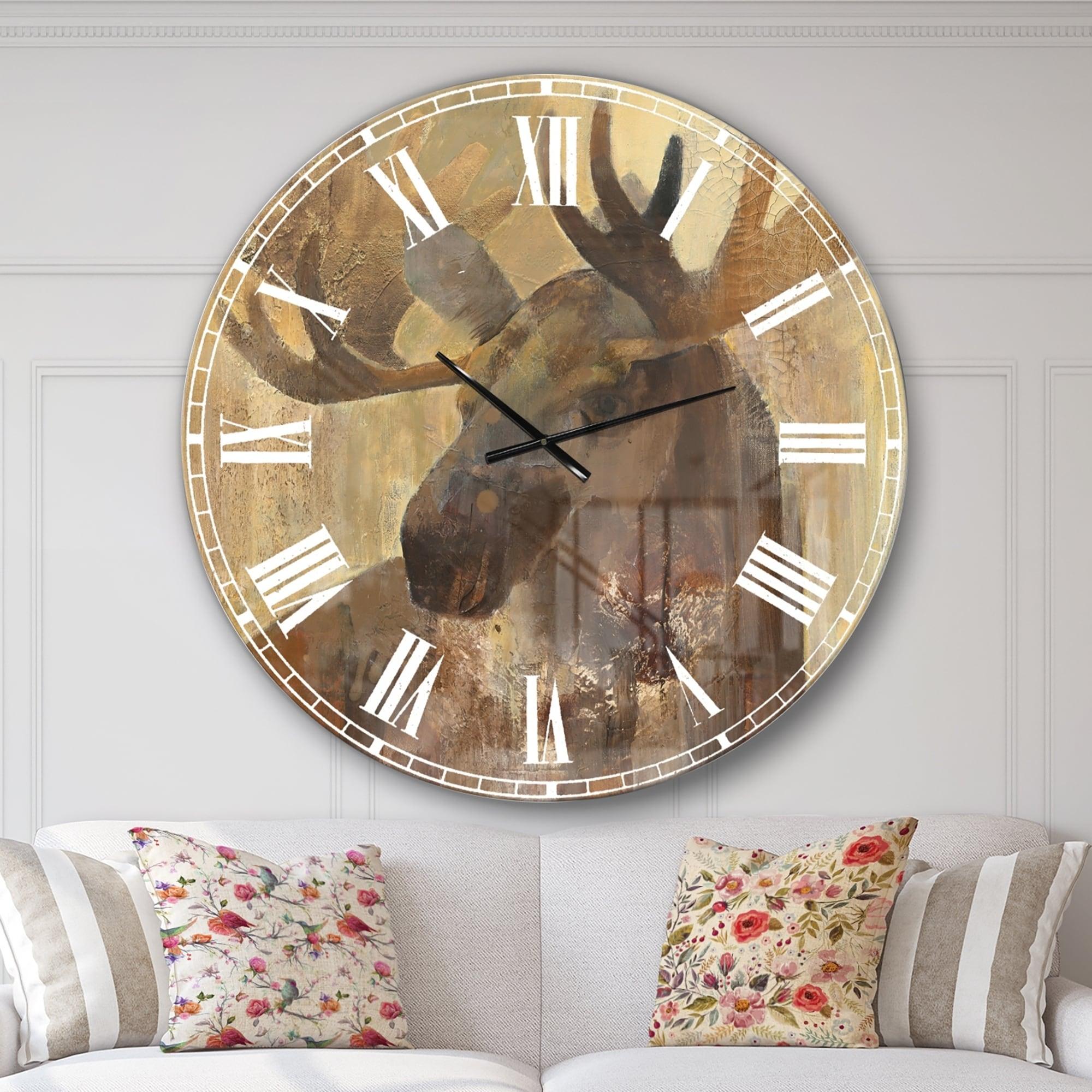 Designart Into The Wild Gold Moose Farmhouse Oversized Metal Clock