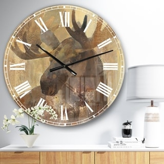 Designart 'Into the Wild Gold Moose ' Farmhouse Large Wall CLock