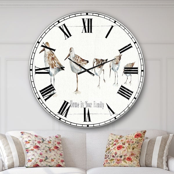 Designart 'Pebbles and Sandpipers Family' Traditional Wall CLock