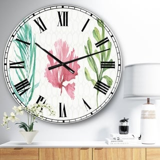 Designart 'Mixed Botanical Green Leaves II' Farmhouse Large Wall CLock