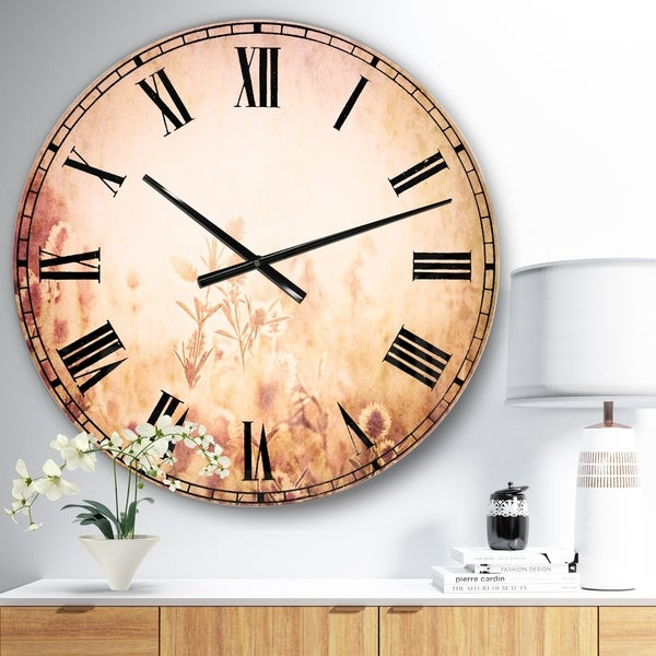 Designart 'Flowers in Mountain Meadow At Sunset' Flower Large Wall CLock