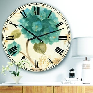 Designart 'Blue Cottage Flower Hydrangea II' Farmhouse Oversized Wall CLock