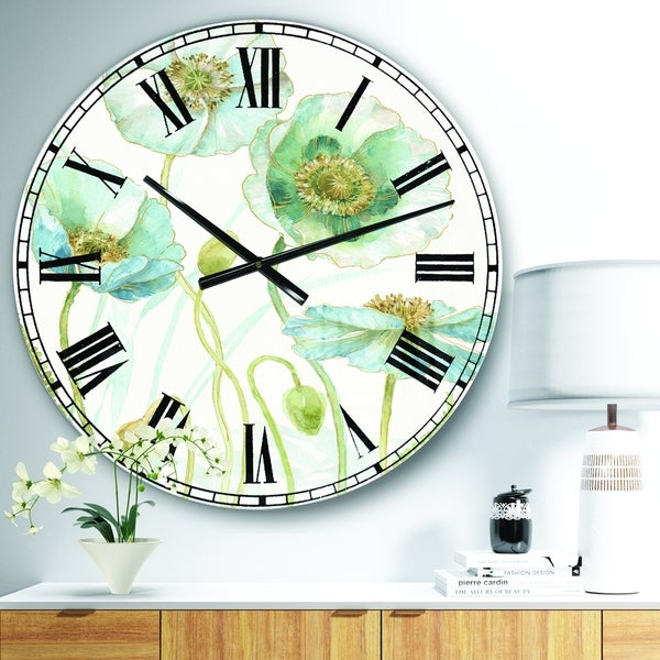 Designart 'Blue Cottage Flowers Drawing I' Farmhouse Wall CLock