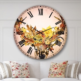 Designart 'Roe Deer with Flowers' Floral Large Wall CLock