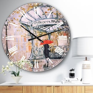 Designart 'Love in Paris IV' Romantic French Country Large Wall CLock
