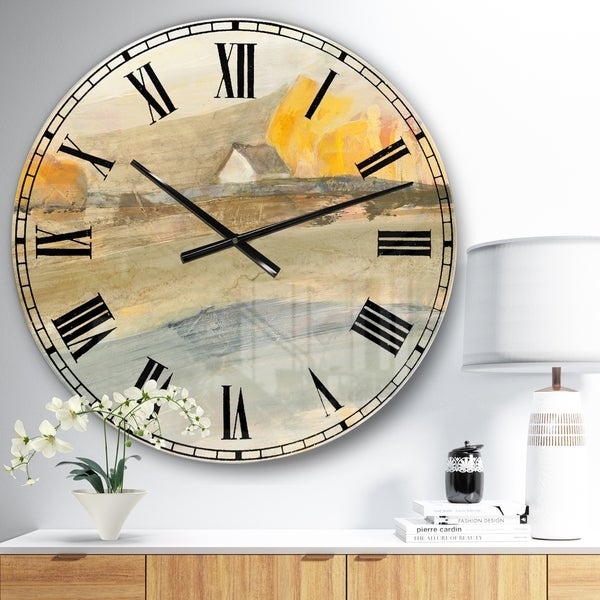 Designart 'Coming on Farmhouse Landscape' Traditional Large Wall CLock