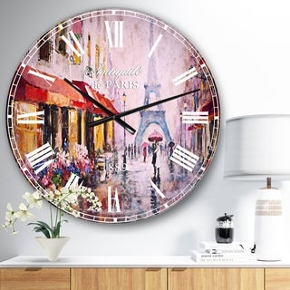 Designart 'Lovers in Paris Eiffel Tower' Cityscapes Large Wall CLock
