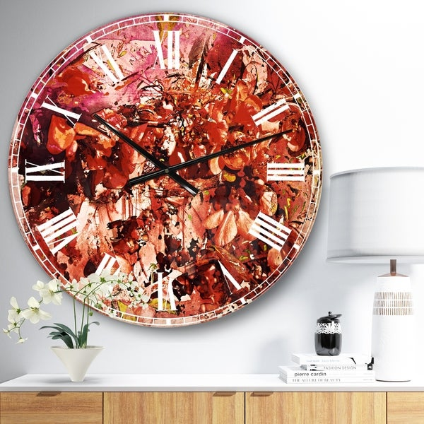 Designart 'Bouquet of Red Sakura Flowers' Floral Large Wall CLock on Wrapped Canvas