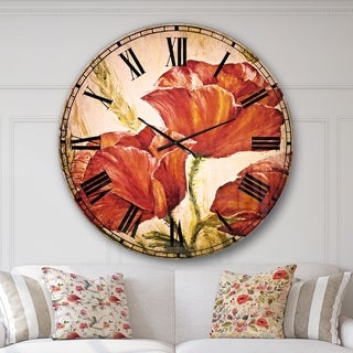 Designart 'Three Poppies Flower' Floral Wall CLock
